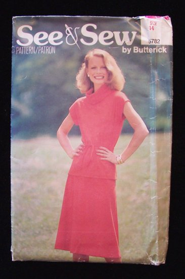 Vintage 80s Butterick See and Sew 5782 Cowl Neck Top and Flared Skirt Dress Pattern