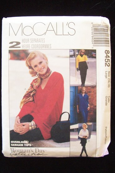McCall�s 8452 Tunic Top Pants and Skirt Pattern For Stretch Knits Uncut Size 16-18