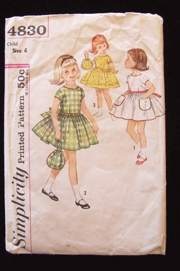 Vintage 60s Simplicity 4830 Girl�s Summer Party Dress and Bag Pattern Size 6
