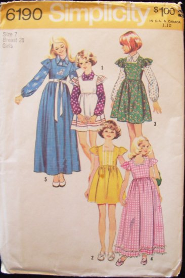 Vintage 70s Simplicity 6190 Girl�s Jumper Dress and Blouse Sewing Pattern Uncut