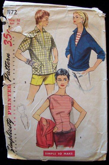 Vintage 50s Simplicity  1172 Bateau Sleeveless Blouse and Pullover Top Sewing Pattern Size 16