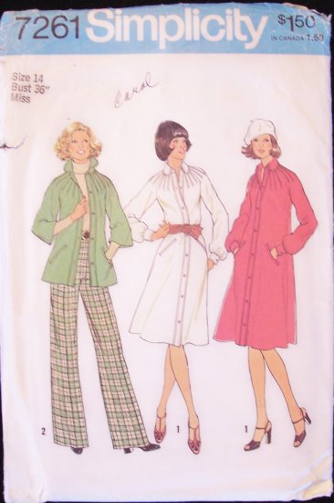 Vintage 70s Simplicity 7261 Raglan Sleeve Shirt Dress and Pants Pattern Size 14 Uncut