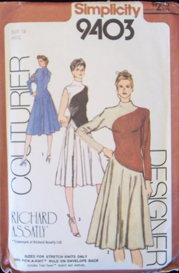 Retro 80s Simplicity 9403 Kimono Sleeve Color Block Dress Pattern Designer Richard Assatly Uncut