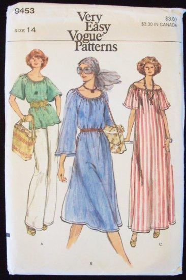 Vintage 70s Vogue 9453 Scoop Neck Maxi Dress Tunic Top Pants Pattern Size 14 Uncut