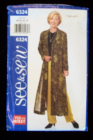Butterick 6324 Duster Jacket and Pants Pattern Uncut Size 14-18 See & Sew