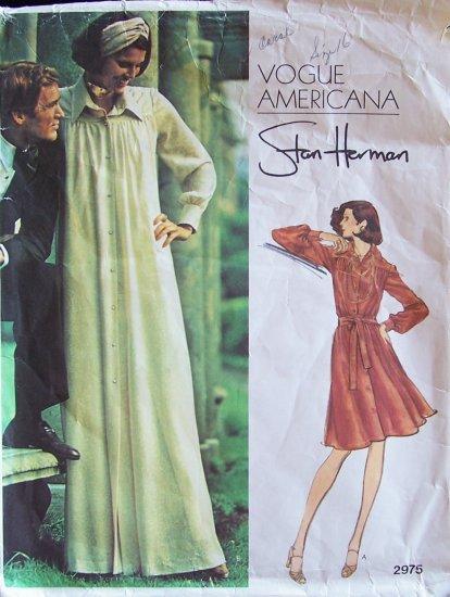 Vintage 70s Vogue Americana  2975 Stan Herman Max Shirt Dress Pattern Size 16