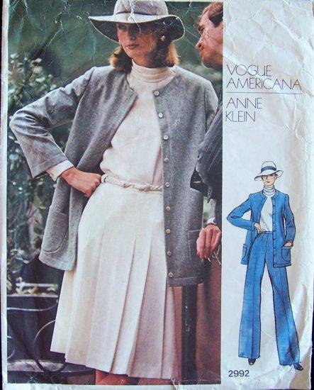 Vintage Vogue Americana 2992 Anne Klein Jacket Blouse Pleated Skirt Pants Pattern Weekender