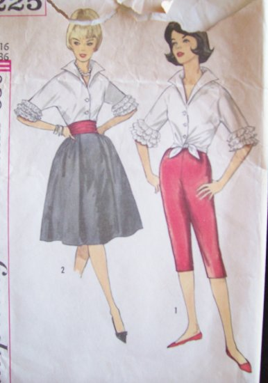 Vintage 60s Simplicity  4225 Full Skirt Capri Pants Cha Cha Blouse and Cummerbund Pattern