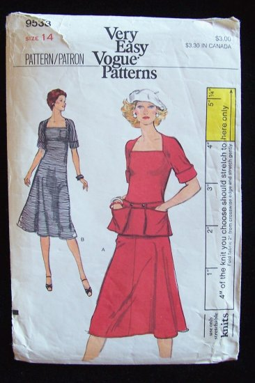 Retro 80s Vogue  9533 Dress or Top and Skirt Pattern For Stretch Knit Size 14