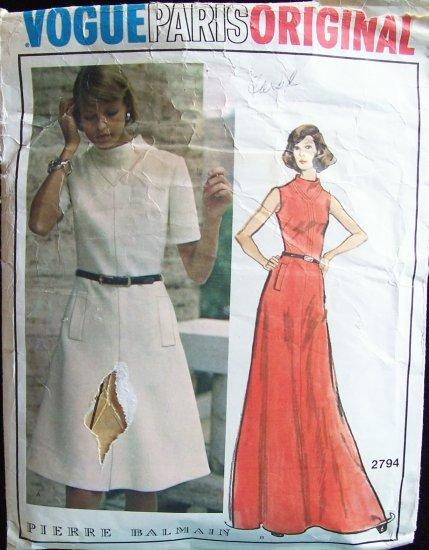 Vintage Vogue Paris Original  2794 Pierre Balmain Evening Dress Pattern Sleeveless 70s