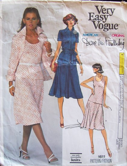 Vintage Vogue 1611 Diane Von Furstenberg Designer Original Jacket Skirt and Top Pattern Size 14