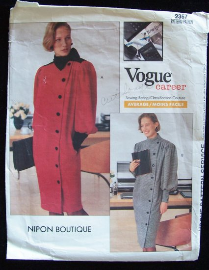 Vogue Career Nipon Boutique 2357 Coat Dress Pattern Asymmetrical Button Front