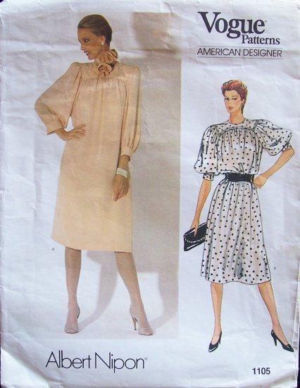 Vogue American Designer 1105 Albert Nipon Dress and Scarf Pattern Size 14