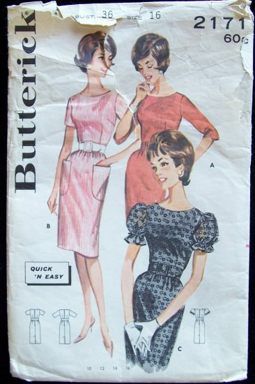 Vintage 60s Butterick  2171 Wiggle Dress Pattern Puff Sleeve size 16