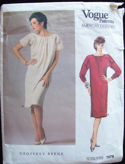 Vogue1579 American Designer Geoffrey Beene Pattern Quilted Yoke Dropped Shoulder Size 14