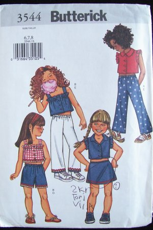 Butterick 3544 Girl�s Cropped Top Mini Skirt Shorts and Pants Pattern Uncut Size 6-8