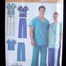 Simplicity 4101 Men's and Women's Scrub Uniform Pattern Top Pants Uncut Size XL-XXXL