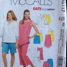 McCall's 5117 Women's Plus Size Capri Pants Shorts Long Top Sewing Pattern Uncut 26W-32W