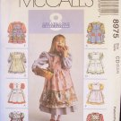 McCall's 8975 Girl's Dress and Pinafore Sewing Pattern Uncut Size 2-4 Puff Sleeve