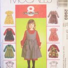 McCall's 2989 Girl's Full Skirt Dress and Pinafore Sewing Pattern Uncut size 4-6