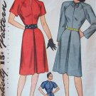 Vintage 40s Simplicity 1508 Raglan Sleeve Day Dress Pattern Slash Neckline Size 14
