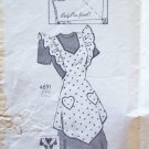 Vintage 30's Anne Adams 4691 Full Bib Apron Pattern Heart Pockets