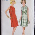 Vintage 60s Butterick 4266 Funnel Collar A- Line Dress Pattern Size 14