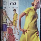 Vintage 60s Simplicity 7192 Designer Fashion Skirt and Roll Collar Top Pattern Size14