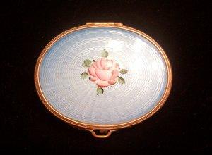 Vintage Mesh Blue Guilloche Enamel Rose Powder Compact