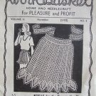 Vintage 1940's Workbasket Vol 2 Nov Pullout Crochet and Knitting Patterns Apron Scarf
