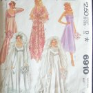 Vintage 70s McCall's  6910 Wedding Gown Bridesmaid Dress  Pattern Empire Waist Lace Train Uncut