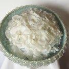 Vintage Ladies Blue Ribbon Hat White Flower Crown