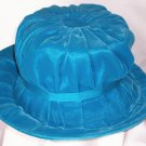 Vintage Ladies Turquoise Velvet Bucket Style Hat Union Made