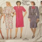 Retro 80s Vogue  1311 Basic Design Straight Shirt Dress Pattern Evening Length or Short