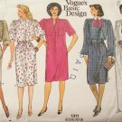 Vintage 80s Vogue 1311 Straight Shirt Dress Pattern Evening Length or Short Basic Design