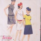 Vintage 60s Butterick 3913 Teens A-Line Dress and Hat Pattern Jewel Neckline Short Sleeve Size 10T