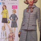 Vintage 60s Simplicity  7862 Princess Seam Jacket and Skirt Suit Dress Pattern Designer Fashion