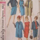 Vintage 60s Simplicity Pattern  6197 Dress, Blouse, Skirt and Coat or Cropped Jacket Size 14