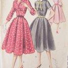 Vintage 50s McCall's 3318 Shirtwaist Dress Pattern Full Skirt Detachable Collar Size 12