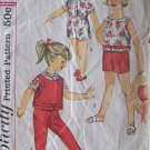 Vintage 50s Simplicity  3027 Girls Top Blouse Pants and Shorts Pattern Summer Suit