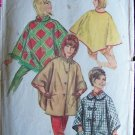 Vintage 60s Simplicity  6651 Hooded Poncho Sewing Pattern Button Front or Pull Over