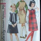 Vintage 60s Simplicity  5077 Girls Jumper Dress and Blouse Pattern Size 12