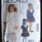Retro 80s McCall's 9264 Girl's Dropped Waist Party Dress Pattern Double Collar Size 4