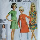 Vintage 60s Simplicity 7511 Round Neck A-Line Dress Pattern Size 11/12