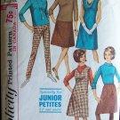 Vintage 60s Simplicity No 6100 A-Line Skirt Dress Blouse Pants Pattern Petite Junior