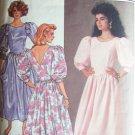 Retro 80s Butterick  3528 Mock Back Wrap Puff Sleeve Dress Pattern Shaped Waist