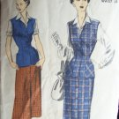 Vintage 40's Advance 5347 Straight Skirt Blouse Jerkin Vest Pattern Size 16