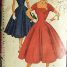Vintage 50s Simplicity 4639 Princess Seam Square Neck Full Skirt Dress Pattern