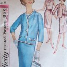 Vintage 60s Simplicity  5352 Sleeveless Dress Cropped Jacket Pattern Size 20 ½