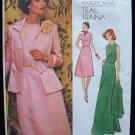 Vintage 70s Vogue Americana  1184 Teal Traina Jacket and Evening Dress Pattern Uncut